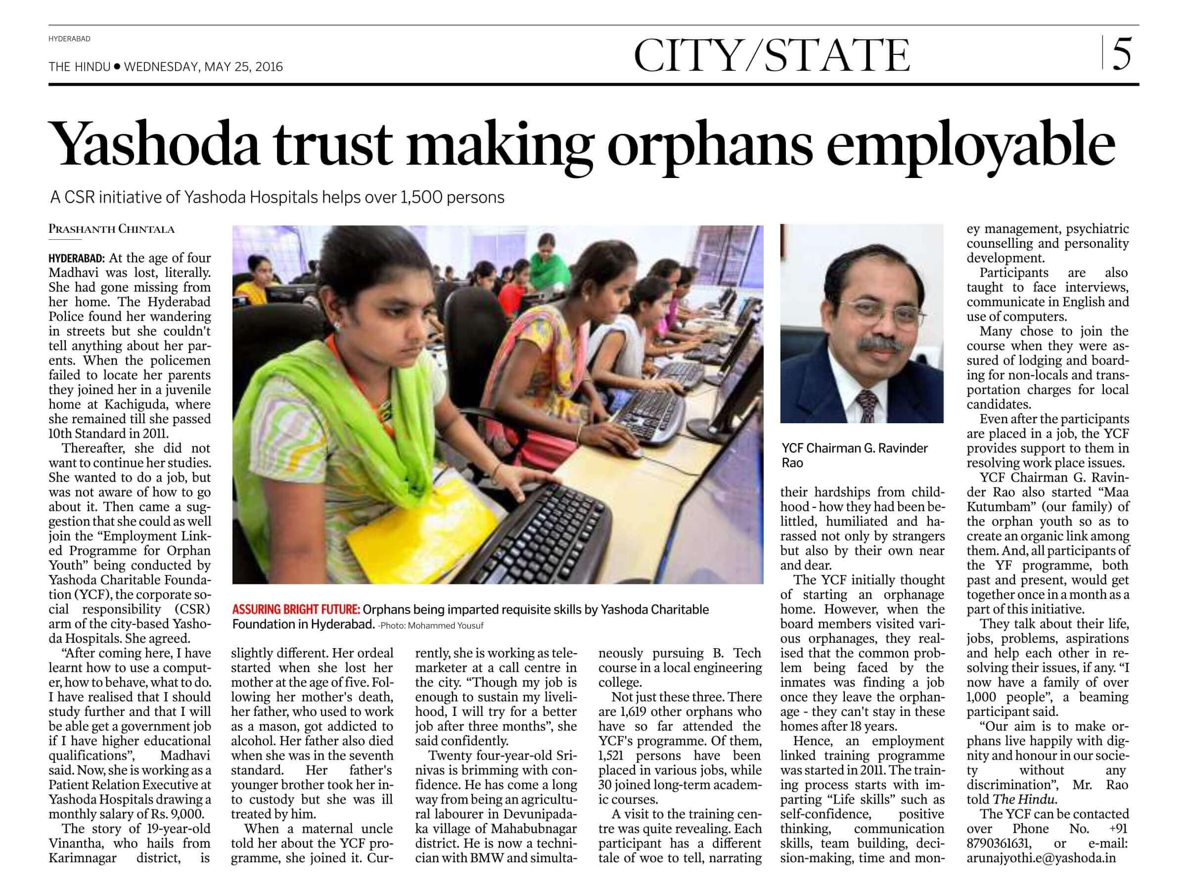 Yashoda trust making orphans employable